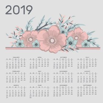Calendrier mignon pour 2019 année