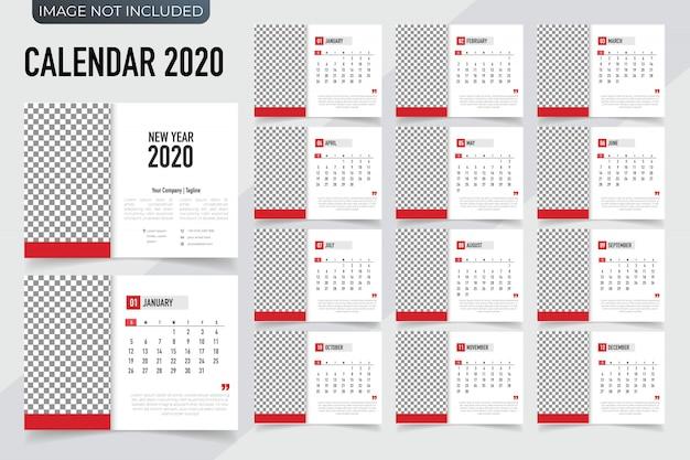 Calendrier de modèle de calendrier 2020. calendrier de nouvel an de vecteur dans un style propre et simple