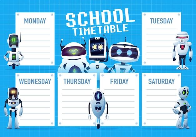 Calendrier avec modèles vectoriels de robots de dessin animé et de droïdes. planificateur hebdomadaire de l'enseignement scolaire, tableau du plan d'étude et horaire des cours des étudiants avec des robots d'intelligence artificielle et des androïdes