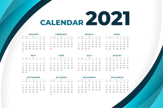 Calendrier moderne 2021 avec forme de courbe
