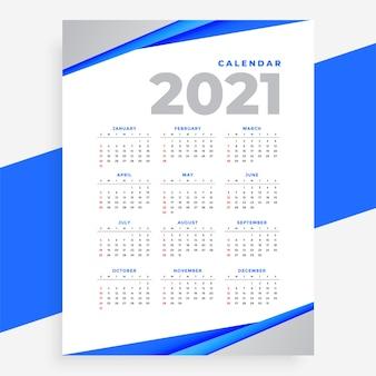 Calendrier moderne de style géométrique bleu élégant de l'année 2021