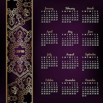 Calendrier de mur affaires vecteur sur fond violet avec des éléments floraux élégants