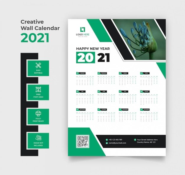 Calendrier mural 2021 couleur verte