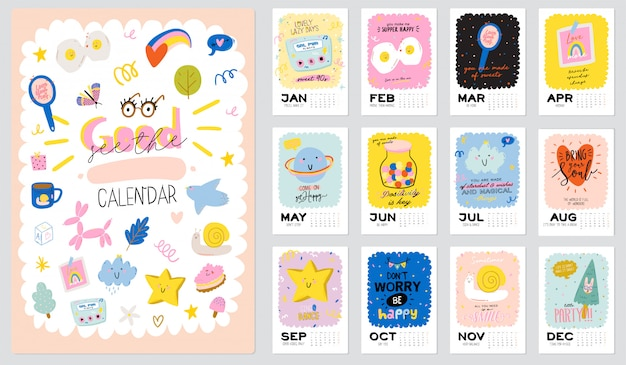 Calendrier mural joyeux anniversaire. le planificateur annuel a tous les mois. bon organisateur et calendrier. illustration de doodle enfants mignons, lettrage avec des citations de motivation et d'inspiration. contexte