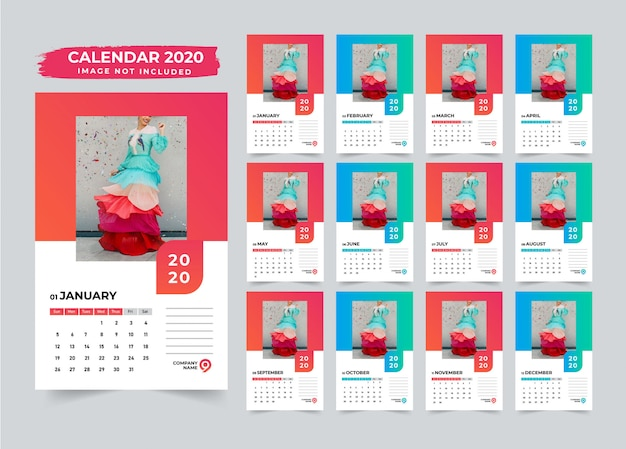 Calendrier mural minimaliste design 2020