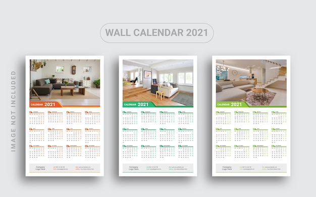Calendrier mural d'une page 2021