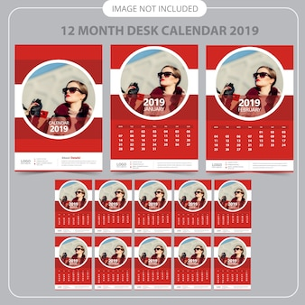 Calendrier mural rouge 2019