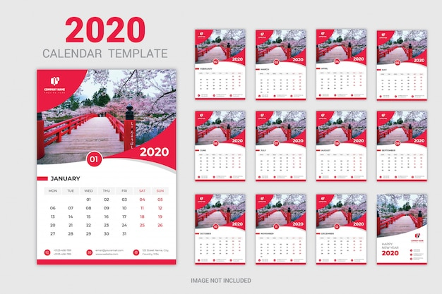 Calendrier mural rouge