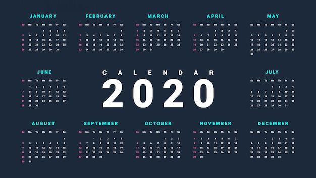 Calendrier mural simple pour 2020 sur fond sombre