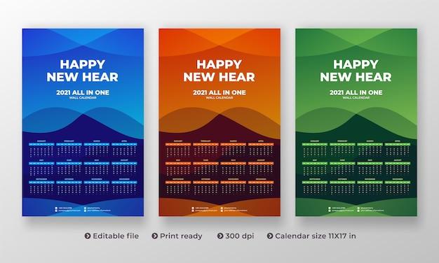 Calendrier mural tout-en-un 2021 avec un design créatif moderne et 1 à 12 mois