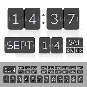 Calendrier noir avec minuterie et numéros de tableau de bord.