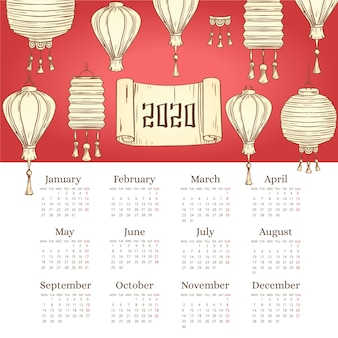 Calendrier de nouvel an chinois dessinés à la main belle avec dégradé