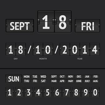 Calendrier numérique du tableau de bord noir avec date et heure de la semaine