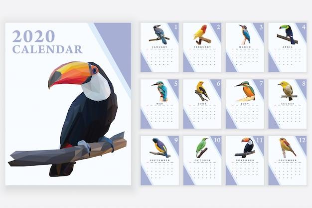 Calendrier des oiseaux tropicaux du calendrier 2020