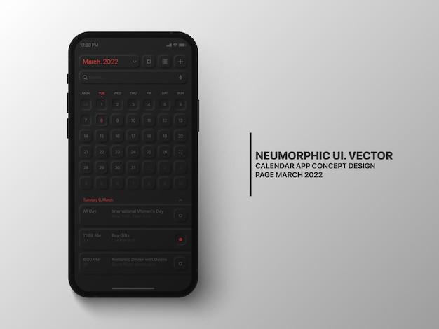 Calendrier de la page de l'application mobile mars avec le gestionnaire de tâches ui conceptuel ux neumorphic dark