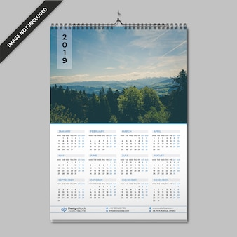 Calendrier d'une page | calendrier 2019 | calendrier mural
