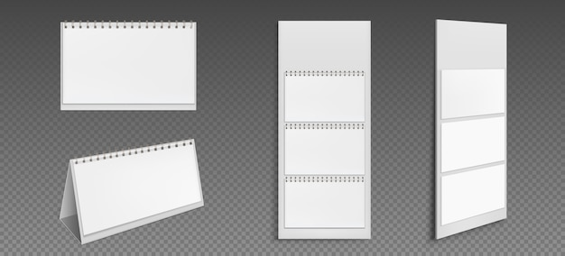 Calendrier avec pages blanches et classeur. vue avant et latérale du calendrier de bureau et de papier peint. ordre du jour, modèle d'almanach isolé sur fond transparent. illustration 3d réaliste, ensemble