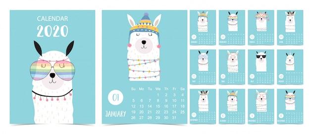 Calendrier pastel doodle série 2020 avec lama pour enfants