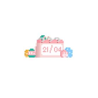 Calendrier pixel avec oeuf de pâques