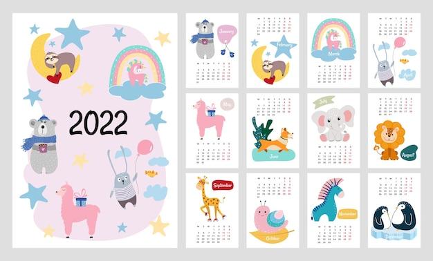 Calendrier ou planificateur 2022 pour les enfants. animaux stylisés mignons. illustration vectorielle modifiable, ensemble de 12 pages de couverture mensuelles. la semaine commence le lundi.