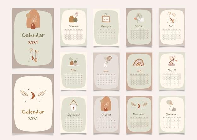 Calendrier de planificateur annuel de décoration intérieure avec tous les mois