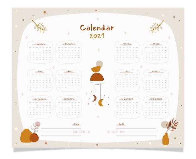 Calendrier de planificateur de décoration boho dessiné à la main avec tous les mois.
