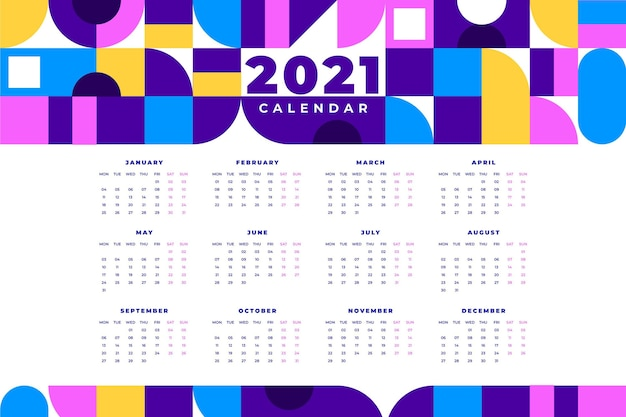 Calendrier plat coloré nouvel an 2021