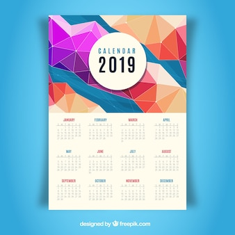 Calendrier plat coloré pour l'année 2019