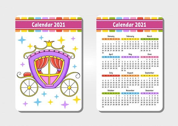 Calendrier pour 2021 avec un joli personnage. calèche magique.