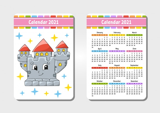 Calendrier pour 2021 avec un joli personnage. château royal. format de poche.