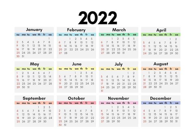 Calendrier pour 2022 isolé sur fond blanc. du dimanche au lundi, modèle d'affaires. illustration vectorielle