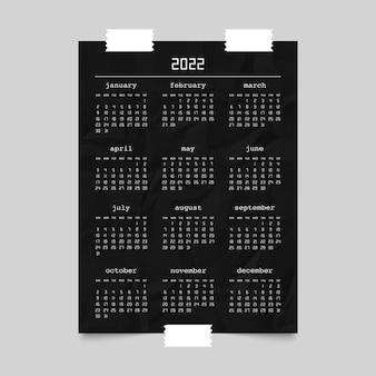 Calendrier pour l'année 2022 sur une maquette d'affiche en papier froissé noir. la semaine commence à partir du dimanche. illustration vectorielle.