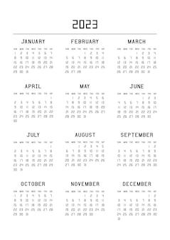 Calendrier pour l'année 2023. planificateur de calendrier défini pour la conception d'entreprise de modèle. la semaine commence à partir du dimanche. illustration vectorielle.