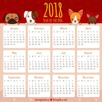 Calendrier pour le nouvel an chinois avec des chiens
