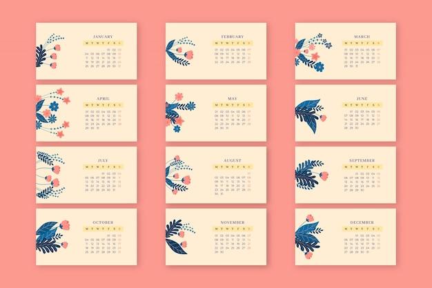 Calendrier printanier mensuel floral élégant