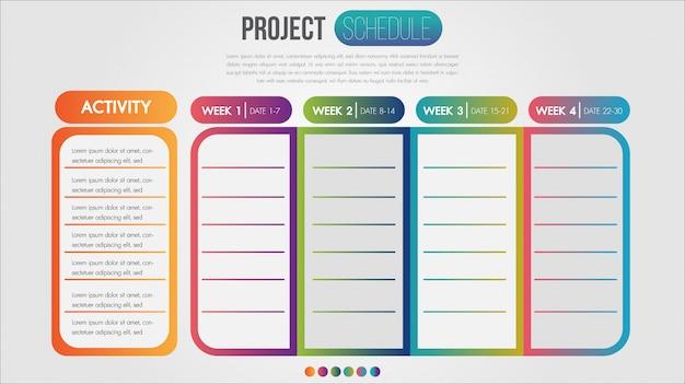 Calendrier de projet graphique modèle de conception infographique calendrier quotidien et hebdomadaire
