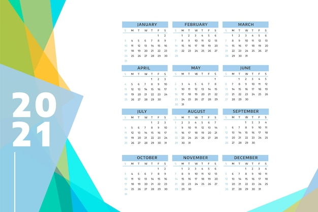 Calendrier réaliste du nouvel an 2021