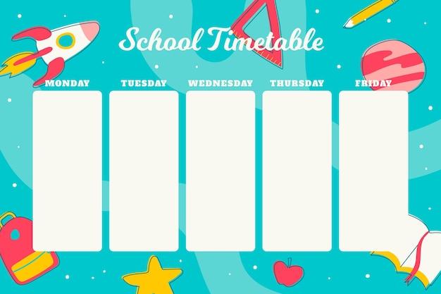 Calendrier de la rentrée scolaire au design plat