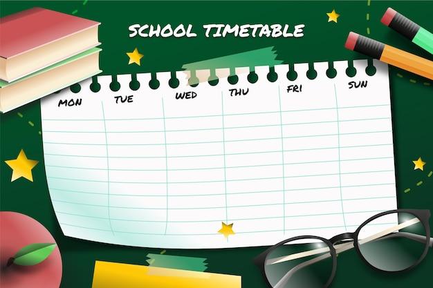 Calendrier de retour à l'école réaliste