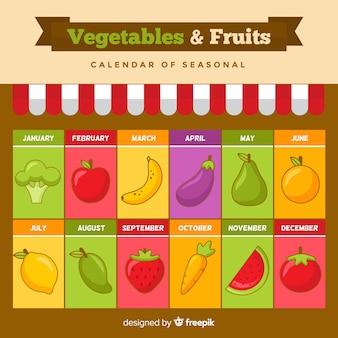 Calendrier saisonnier coloré de fruits et légumes