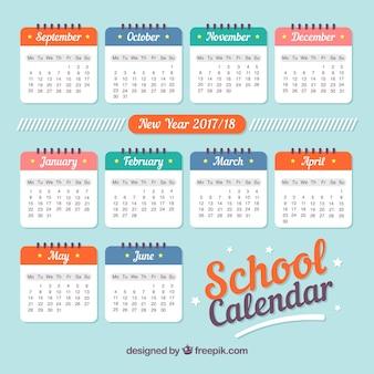 Calendrier scolaire 2017, style rétro