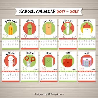 Calendrier scolaire amusant avec les articles scolaires pour chaque mois