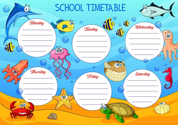 Calendrier scolaire avec des animaux de dessin animé sous-marins.
