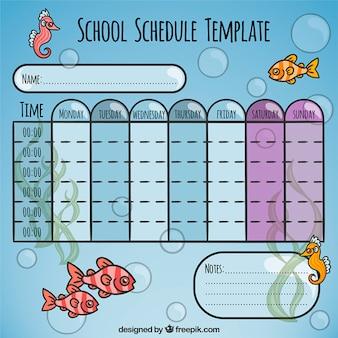 Calendrier scolaire avec des animaux marins