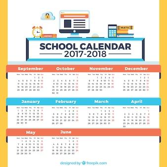 Calendrier scolaire, bleu, rouge et jaune