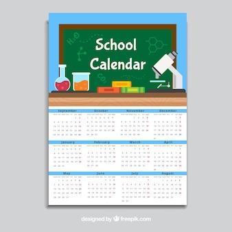 Calendrier scolaire bleu, style plat