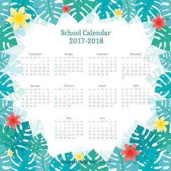 Calendrier scolaire avec cadre floral