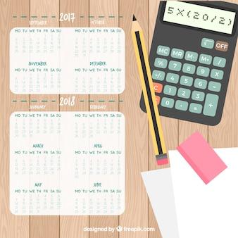 Calendrier scolaire avec une calculatrice
