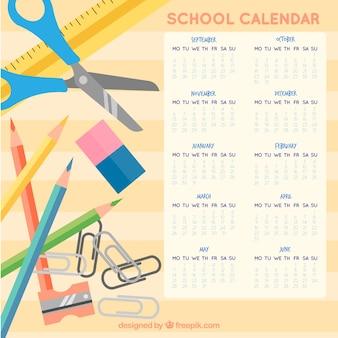 Calendrier scolaire avec des crayons