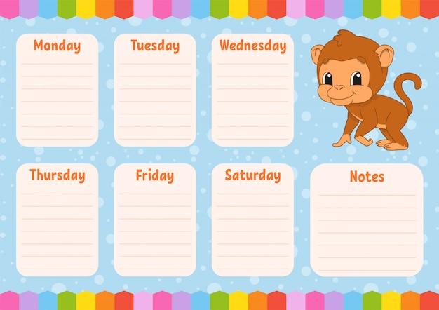Calendrier scolaire avec dessin animé de singe